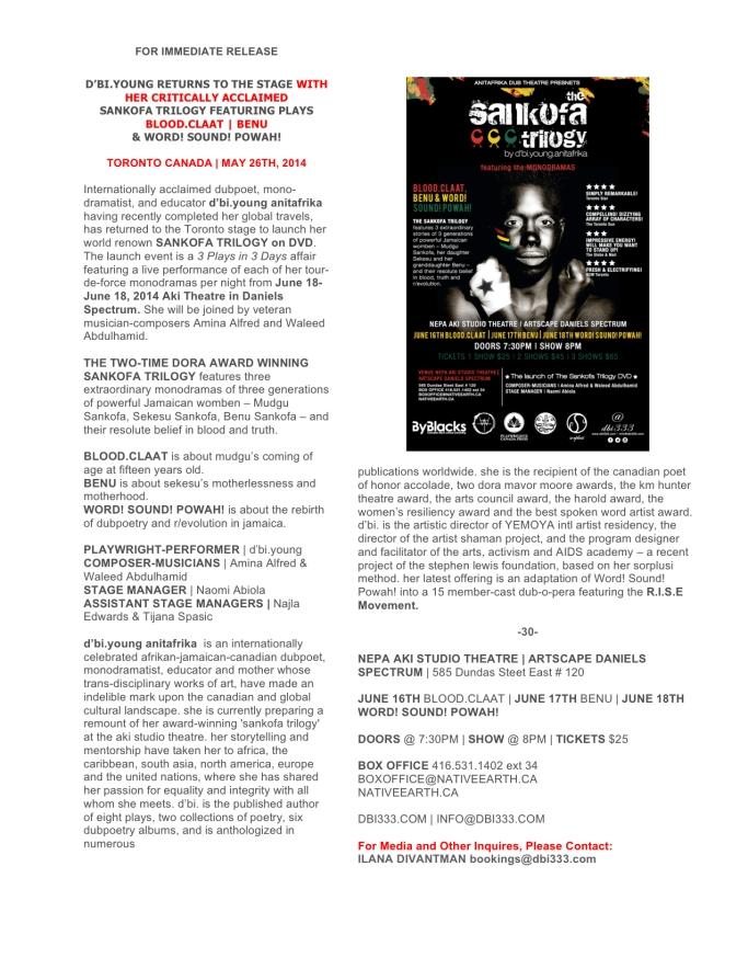 the sankofa trilogy press release