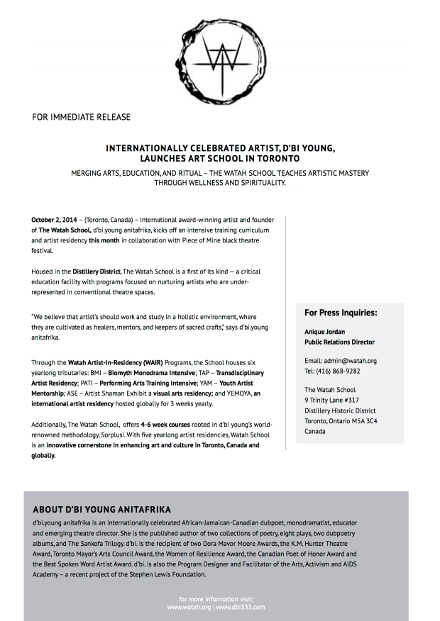 watah school press release oct 2014