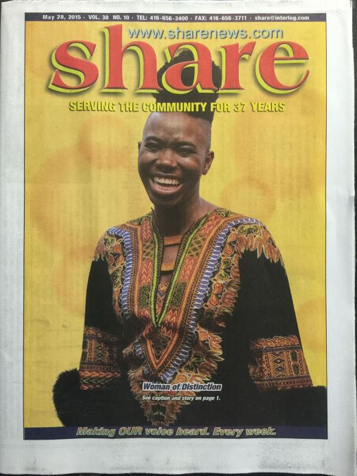 d'bi on the cover of share newspaper